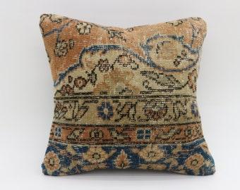 16x16 Tukish Decorative Rug Pillow Turkish Pillow Throw Pillow Floral Pillow Striped Pillow Orange Pillow 16x16 Rug Pillow Cover SP4040-4509