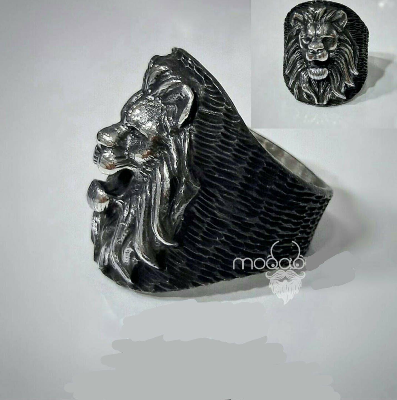 bague chevali re homme argent massif 925 animal t te lion. Black Bedroom Furniture Sets. Home Design Ideas