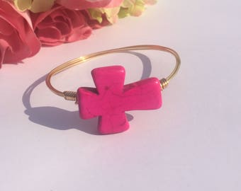 Hot Pink Fiesta Cross Gold Wire Bangle Bracelet