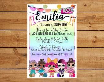 LOL Surprise Dolls Rainbow Birthday Party Invitation