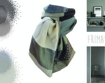 unique designer model velvet gray wool scarf