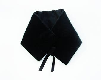 removable faux fur collar black model creative unique