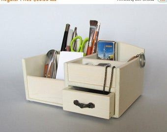 ON SALE Desk Organizer Office Organizer Pencil Cup Office Decor Caddy Tools Office Supplies Holder Home Decor Distressed Finish