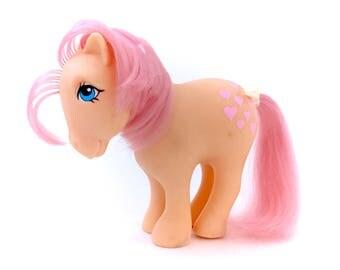 G1 My Little Pony Peachy 1982 Original Six Earth Ponies 80s Vintage MLP Bronies Brony Retro Classic 1980s Toys Peach Pink Hearts Hasbro