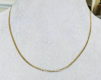 Lovely vintage 9ct yellow gold 18 inch flat link chain - fully hallmarked