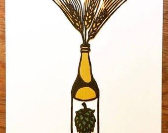 """Beer Bottle Handmade Woodcut Print """"Vase"""""""