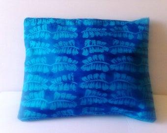 Blue, batik, clutch, make up pouch