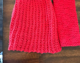 Knitted Dish towel with coordinating washcloth