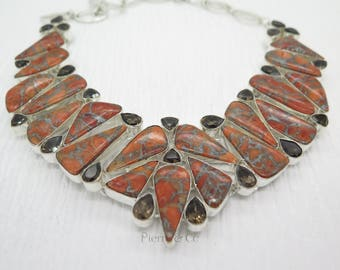 Copper Turquoise and Smoky Topaz Sterling Silver Necklace
