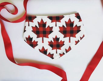 Riyana Bib - Canada 150 Drool Bib, Red Bandana Bib, Canada 150 Bandana bib, girl Bandana bib, Maple leaf drool bib, red and white bib