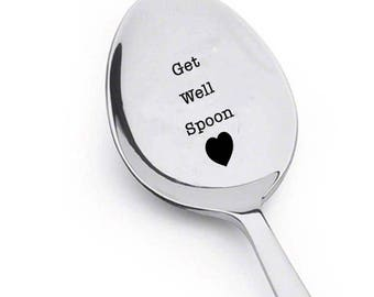 GET WELL SPOON!-Novelty Gift-Motivational quotes-Personalized-Get Well Soon Gift - Recovery Gift -Valentine Present-Positive-Energetic gift
