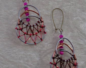 "Earrings ""Steel"" Collection - Croissant high-low Rose"