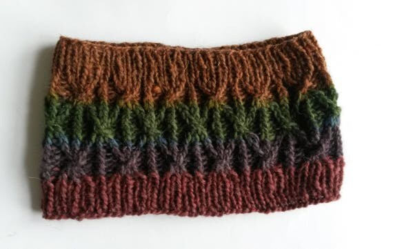 Knit cowl. Wool neckwarmer. Handknit from handspun Irish wool. Made in Ireland. Rainbow colours. Knit headband. Knit hairband. Unique gift.