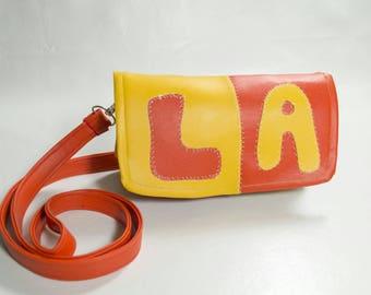 Faux Leather Purse Yellow Orange Retro Los Angeles California Patch Colorblock Patchwork Handmade Handbag Vegan Vinyl Crossbody Bag Clutch