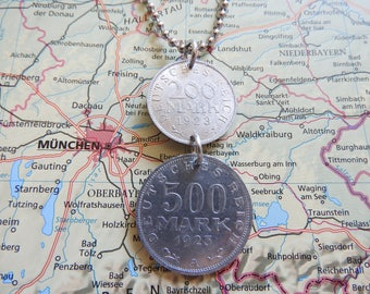 Germany 1923 duo coin necklace - made of original coins from Germany - birth year - Berlin - wedding present