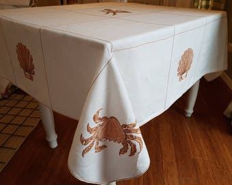 One of a kind 100& Italian linen embroidered table cloth.