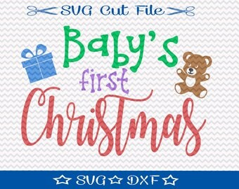Baby's First Christmas SVG File, SVG for Silhouette, Xmas SVG, Happy Holidays,  Merry Christmas Svg, Christmas Svg for Baby,