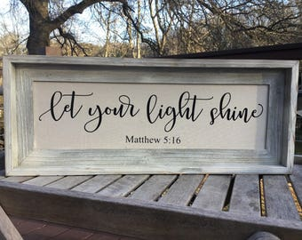 Let your light shine,Matthew 5:16,Framed canvas quote,Bible verse sign,Gallery wall art,Farmhouse decor,Joanna Gaines decor,shabby chich art