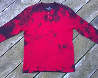 Hand Dyed long sleeved T-Shirt - Unisex Kid's Size Medium - Red with dark purple and black - Fire Engine # 152 - Tie Dye