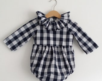 Baby romper with flying collar and long sleeves