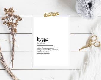 Hygge definition , Instant Download, Digital  poster, Printable Wall art, Home gallery, Modern minimalist print, Typographic poster