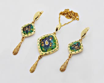 Necklace and earrings by Cloisonne Enamel
