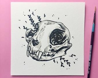 "Cat Skull Painting ~ 6 x 6"""