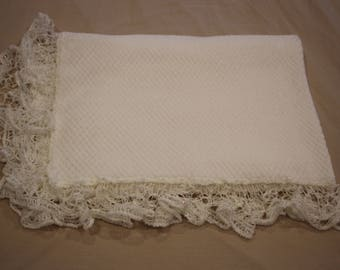 Soft White Baby Blanket with Crochet Trim, Plush Wrap, Pram Blanket,Throw Rug, Crib Cot Blanket, Rug