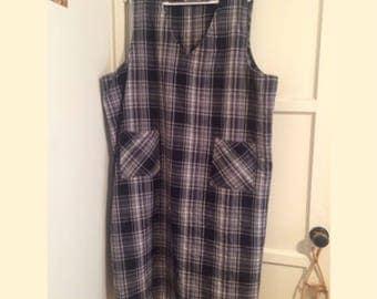 Vintage 90s PLUS SIZE dress /Plaid /Pockets / 3x / 4x / 5x 32W