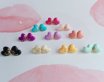Heart gold leaf earrings, minimalist earrings, polymer clay earrings, geometric earrings, bridesmaids earrings, bridesmaid gift