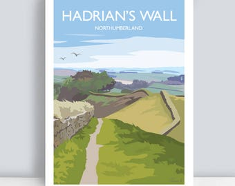 Hadrians Wall, Northumberland. Travel Art Print/Poster. PLUS FREE POSTAGE!