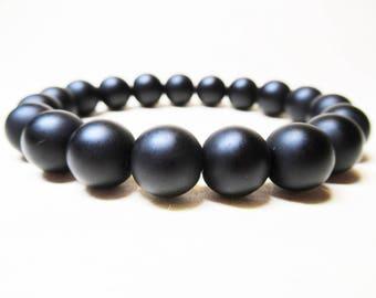 Matte Black Onyx Bracelet Black Onyx Bracelet Mens Bracelet Gemstone Beaded Bracelet Protection Bracelet Power Bracelet Mala Bracelet