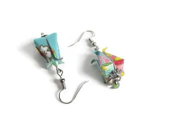 Romantic origami jewelry flower button with lotus origami earrings, Japanese paper necklace and glass bead