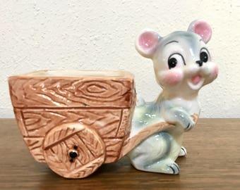Vintage Mouse Planter / Mouse Cart Planter / Kitsch Mouse Planter