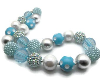 Necklace Silver/Blue acrylic beads