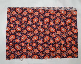 Colorful Vintage 1950s Cotton Print Quilting Fabric - Navy Blue Background with Orange Paisley and Flowers - 35 inches wide
