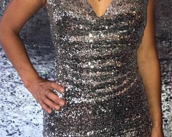 Metallic Silver Sequin Club Dress