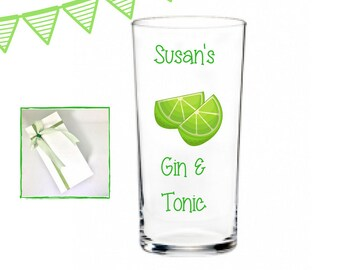 Gin gifts, personalised gin and tonic glass, personalised gin glasses personalised gin glass, gin lover gift, gin and tonic gifts,