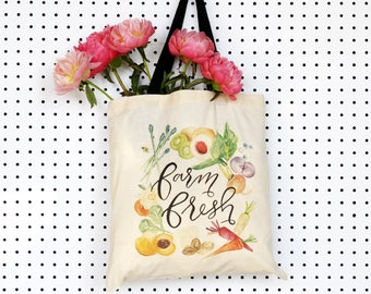 Tote Bag Canvas, Farmers Market Tote, Farm to Table Bag, Market Bag, Gifts for Her, Farmers Market, Watercolor Tote, Grocery Tote Bag