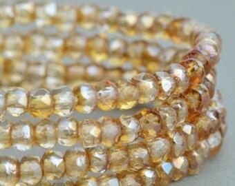 Czech Glass Rondelles - Crystal Transparent Celsian - Czech Glass Beads - 3x2mm - 50 Beads