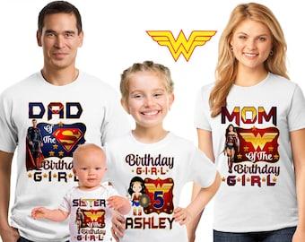 Wonder Woman Birthday shirt/Wonder Woman birthday girl shirt/ birthday girl shirt/ super hero shirt/ Family matching shirts