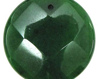 40mm faceted emerald green jade coin bead pendant 30464