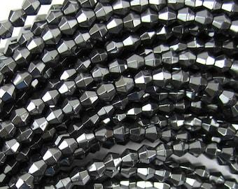 """4mm hematite bicone beads 15.5"""" strand 34962"""