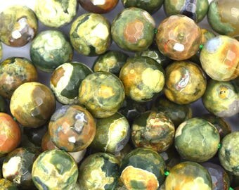 """10mm faceted natural rhyolite round beads 15.5"""" strand 37090"""