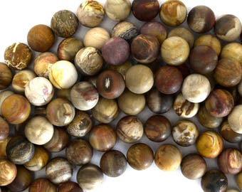 "10mm matte petrified wood agate round beads 15"" strand 39127"