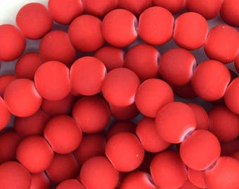 """8mm frost matte glass round beads 15"""" strand red 35995"""