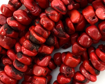 "13mm - 15mm red coral nugget beads 16"" strand 39484"