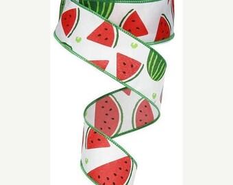 "SALE 1.5""x 10 yards- Watermelon Ribbon, Watermelon slices ribbon, watermelon ribbons, watermelon slices, wired watermelon ribbon, ribbons"