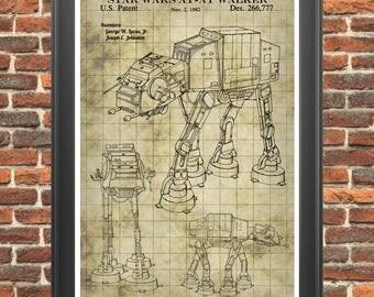 Star Wars At-At Walker, At-At Poster, At-At Print, Star Wars Poster, Star Wars Patent, Star Wars Decor, Star Wars Art, Star Wars Print P300