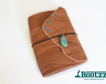 A6 Traveler's notebook with a turquoise stone - midori- travelers notebook-dori -art journal